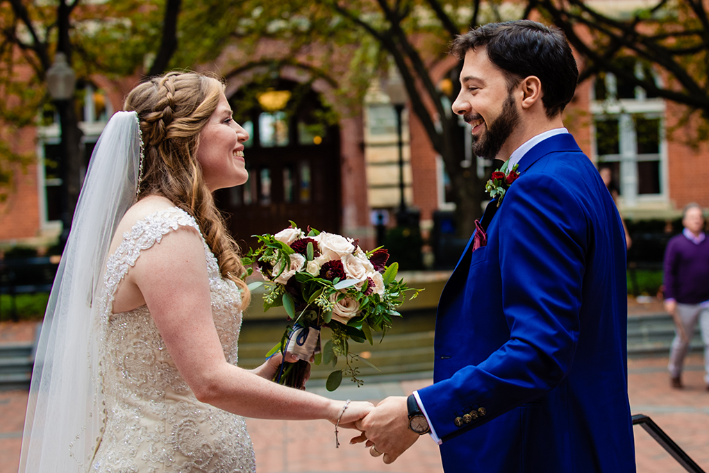 Just married bride and groom at Dahlgren Chapel at Georgetown University before Omni Shoreham DC by DC wedding photographers Potok's World Photography