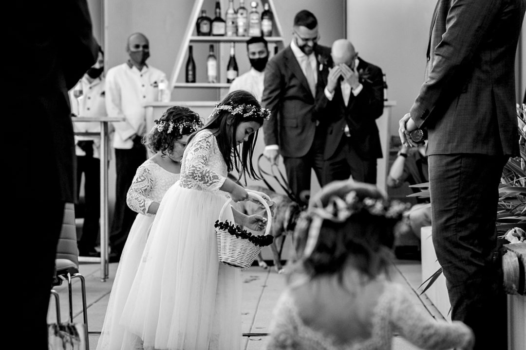 Flower girls at same sex wedding at the Conrad Hotel in DC by Potok's World Photography