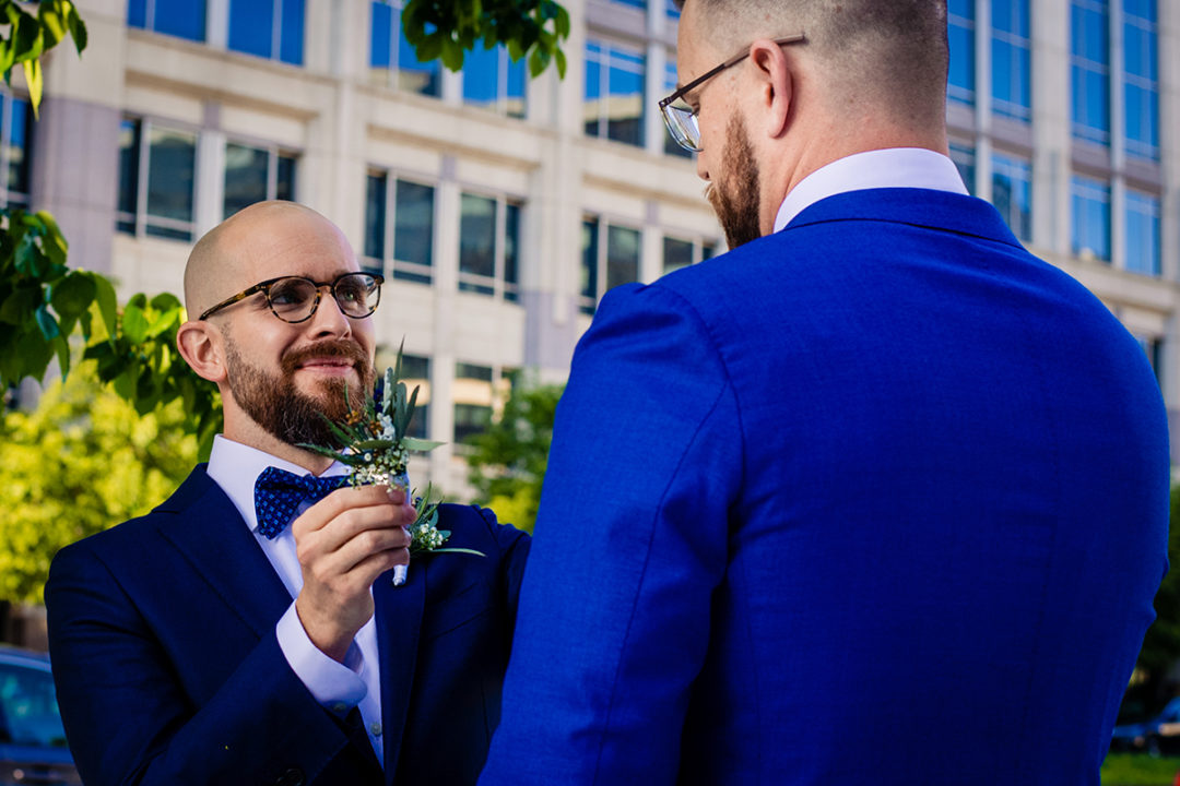 Same sex couples photos at City Center in DC before their wedding ceremony at the Conrad Hotel by Potok's World Photography